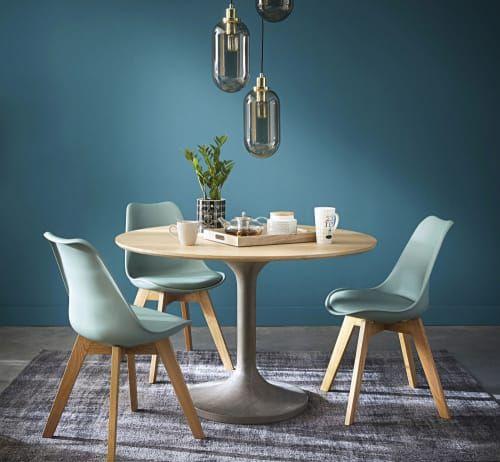 Chaise Style Scandinave Vert D Eau Et Chene Massif Ice Maisons Du Monde Salle A Manger Moderne Table Salle A Manger Table A Manger Ronde
