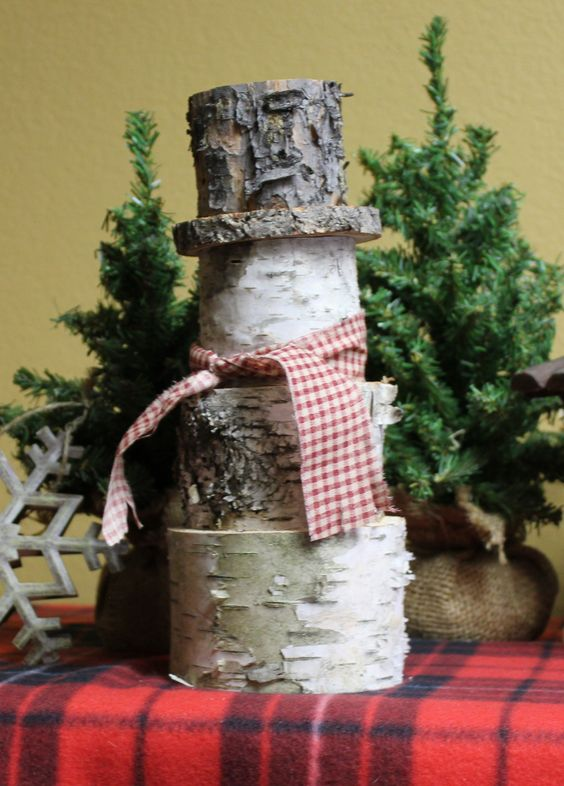 Woodland Snowman.         Rustic Christmas Decor at its best.  Purchase on Etsy for just $15: