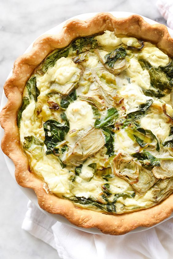 Spinach Artichoke and Goat Cheese Quiche is a simple and savory quiche with an Almondmilk and egg custard base | foodiecrush.com: