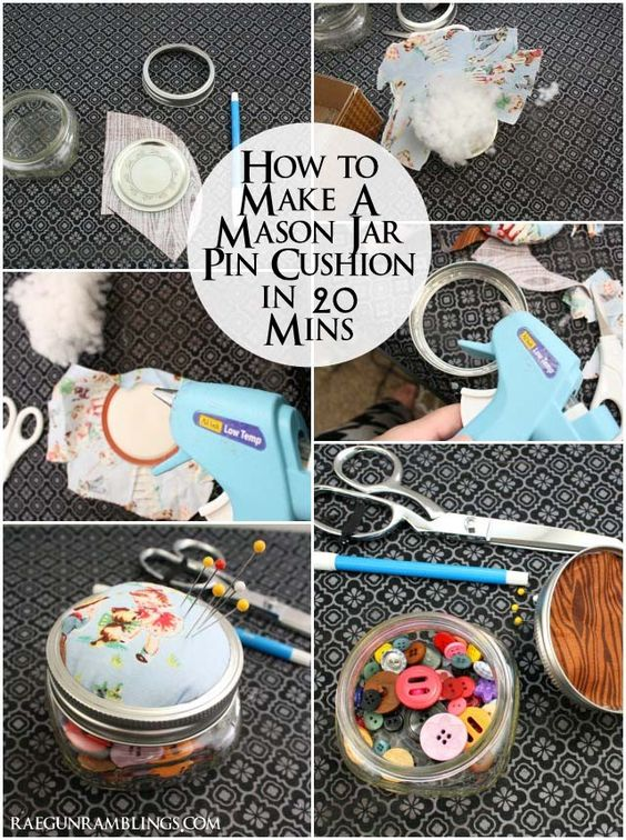 Step by step instructions for turning a glass jar into a cute pin cushion with storage - Rae Gun Ramblings: