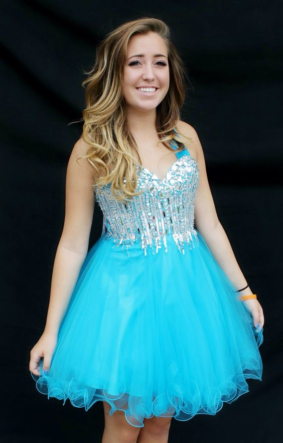 Amazing new blue short homecoming dress! Available for rent at ...