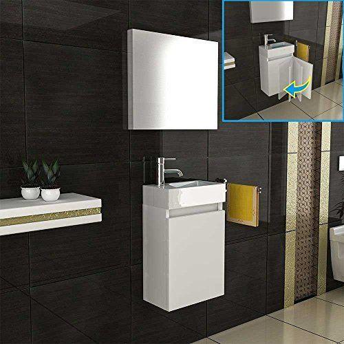 Badmöbel Set / Waschbecken Und Unterschrank / Design Spiegel /  Badezimmerset / Farbe : Braun /