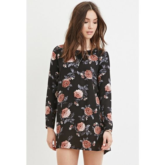 Forever 21 Women's  Floral Smock Dress ($16) ❤ liked on Polyvore featuring dresses, sleeve dress, long sleeve dress, forever 21 dresses, smock dress и smocked dresses