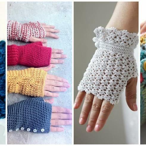 Guantes sin dedos o mitones a crochet. ¡Tutoriales incluidos!
