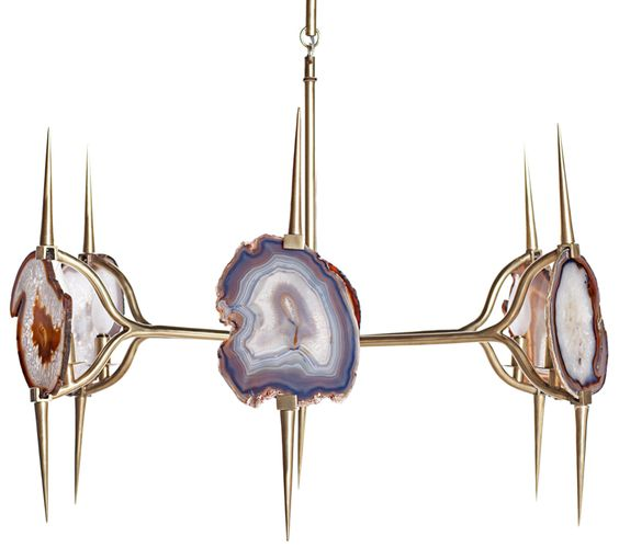 brushed brass x natural agate chandelier