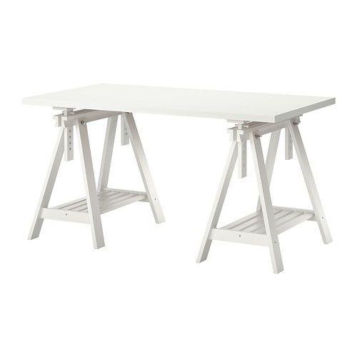 Linnmon Finnvard Table Blanc 150x75 Cm Ikea Trestle Table
