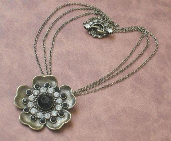 NeoVintage Flower Pendant on Antique Gold Necklace from RioBiscayneJewelry on Etsy: