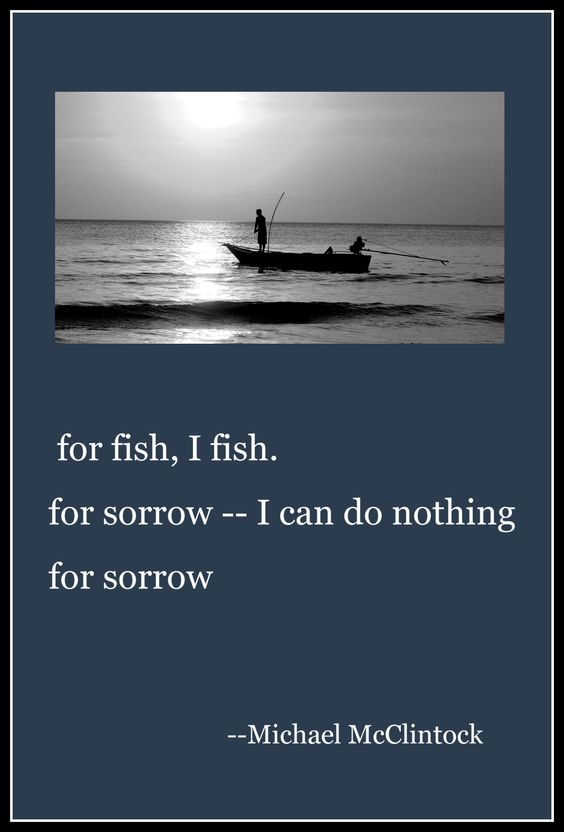 Haiku poem: for fish, I fish-- by Michael McClintock.: