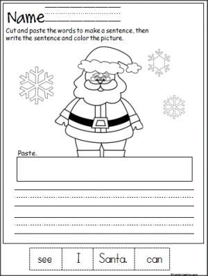 free santa cut paste and write the sentence printable page terrific winter activity for. Black Bedroom Furniture Sets. Home Design Ideas
