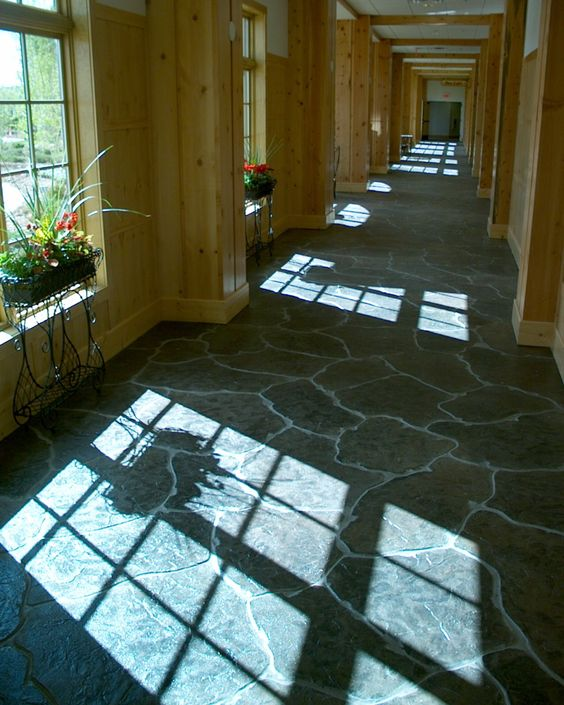 Basement Flooring Upgrade In Linden Ab: Stamped Concrete Floor, Cheaper Alternative To Stone
