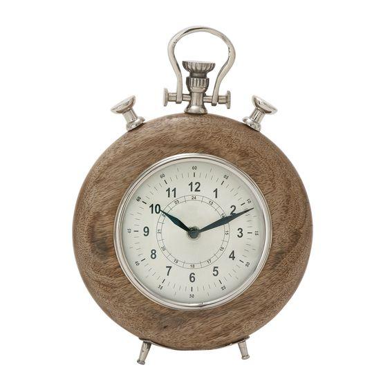 Benzara Brown Wood Metal Table Clock