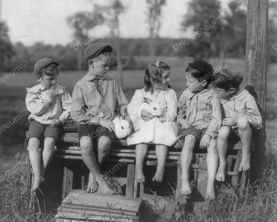 Vintage Children With Bunny Rabbits Cute 8x10 Reprint Of Old Photo