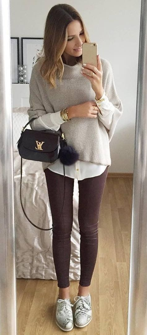 casual style obsession sweater + shirt + bag + brown skinny pants