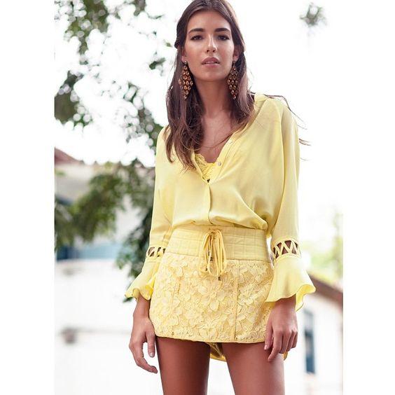 short-saia de renda e camisa de seda!  #animalebrasil