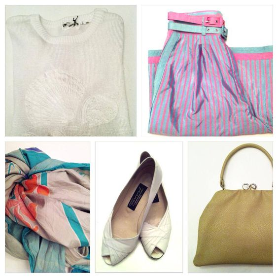 Vintage summer knit, vintage pin stripe shorts, vintage silk scarf, vintage peeptoes, vintage leather bag. All available in Beware of Limbo Dancers.