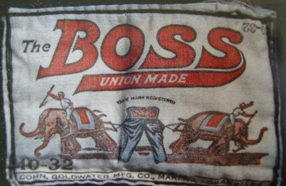 A etiqueta que dizia provar a calça Lee mais resistente que a da Levi's. Elefantes, em vez de cavalos testam a resistência.