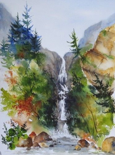 aquarelle paysage rivi re torrent abby arbres montagne dolomites alpes cascade watercolor. Black Bedroom Furniture Sets. Home Design Ideas