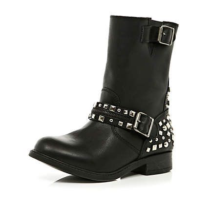 black studded biker boots - ankle boots - shoes / boots - women - River Island