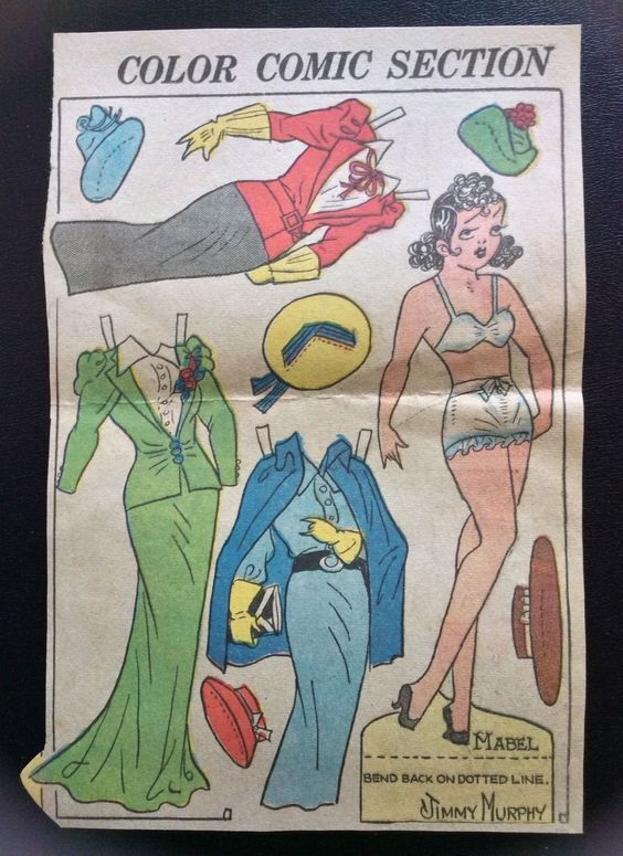 Toots Casper Vintage Sunday Funny Paper Doll 1936 Uncut Comic Strip Mabel | eBay