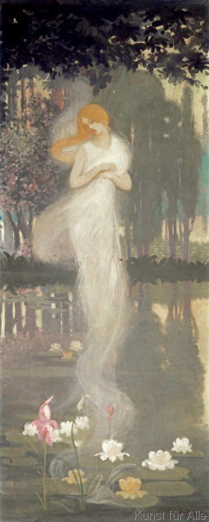 Albert Braut - A.Braut, Elfe über einem Seerosenteich