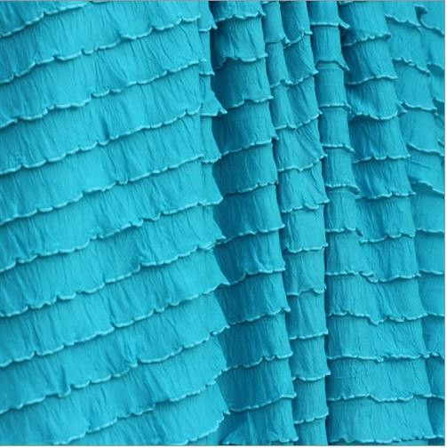 Ruffle Curtain Panel, Turquoise Blue, 20 inches Tall by 52 Inches ...
