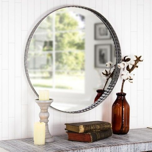 21 65 X1 57 X21 65 Galvanized Metal Round Wall Mirror Gray E2 Concepts Target Mirror Wall Round Wall Mirror Mirror