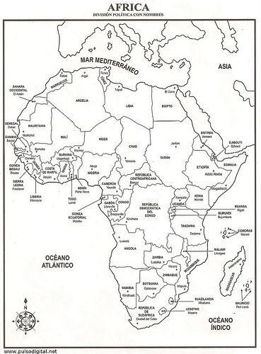 mapa de  u00c1frica  u2013 divisi u00f3n pol u00edtica con nombres