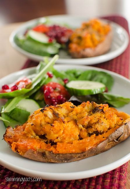 Double Baked Smoked Mackerel Stuffed Sweet Potato | Slimming Eats - Slimming World Recipes