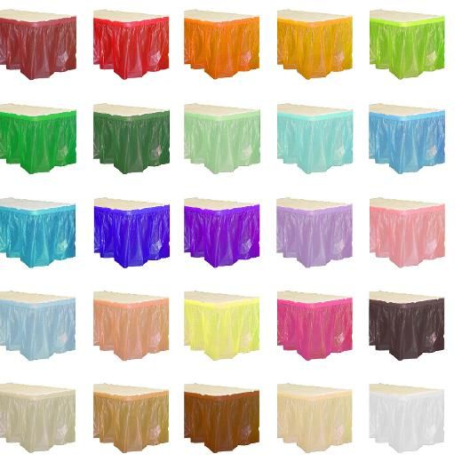 Browse Our Huge Line Of Plastic Party Table Skirts Available In Many Colors Disposable Cheap Table Skirts High Quality Plastic Tables Table Skirt Light Table