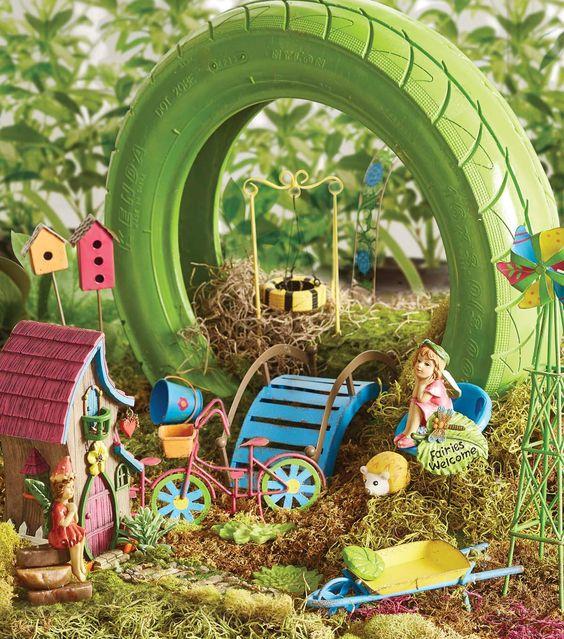 Bright Fairy Garden Garden Pinterest Gardens Girls And Recycled Tires