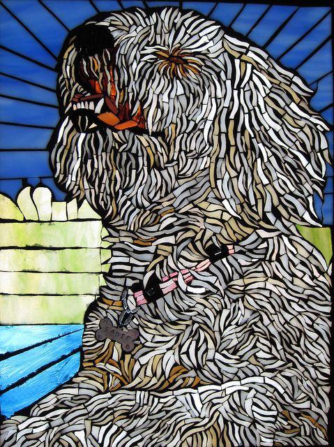 mosaic dog  pet portrait