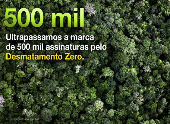 500 mil apoiam o Desmatamento Zero   #GreenpeaceBR