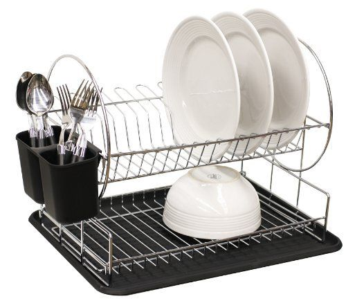 Home Basics Dish Drainer 2 Tier Round Black By 29 99 Tiered Rack Offers E For Draining And Drying After Washing Inclu