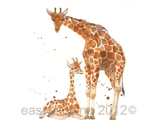 Nursery Giraffe Print, giraffe print, Mother and baby giraffe, new mom gift, children art. $18.00, via Etsy.