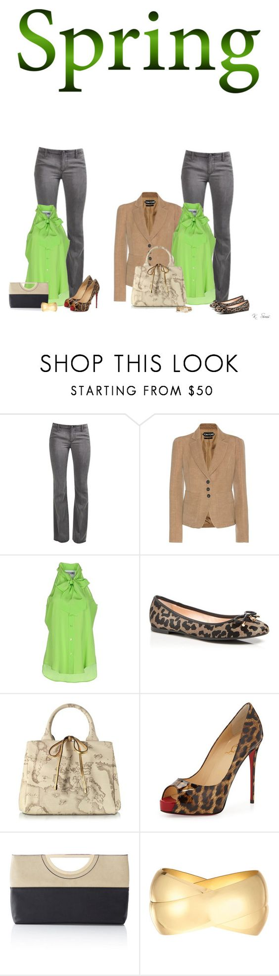 """""""Day to Evening"""" by ksims-1 ❤ liked on Polyvore featuring Tom Ford, Moschino, Kate Spade, Alviero Martini 1° Classe, Christian Louboutin, The Limited, Kenneth Jay Lane, Melinda Maria and daytoevening"""