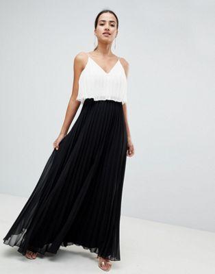ASOS DESIGN - Robe longue plissée style color block avec top court