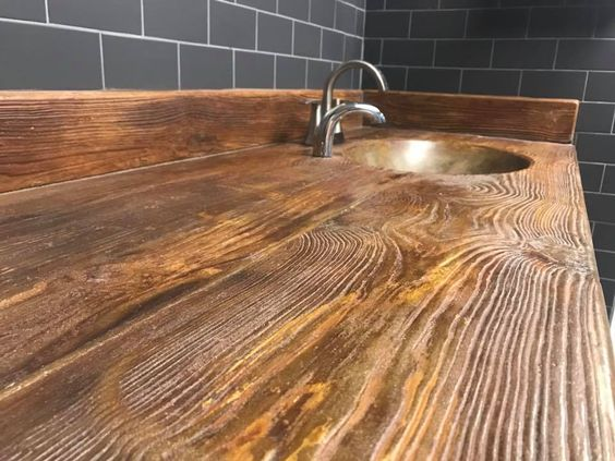 How To Stain Stamped Concrete To Look Like Wood Diy Countertops