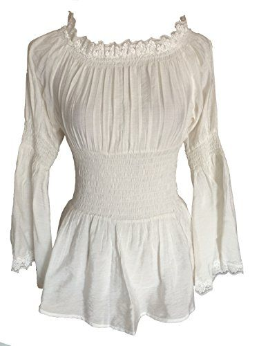 Ivory Peasant Gypsy Romantic Long Blouse Top (16) Steampunk Goths http://www.amazon.co.uk/dp/B00UHNMV0W/ref=cm_sw_r_pi_dp_qizAvb1CVCFZT
