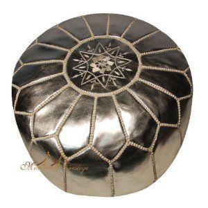 Amazon.com: Moroccan Leather Pouf Silver Moroccan Poufs Ottoman: Home & Kitchen