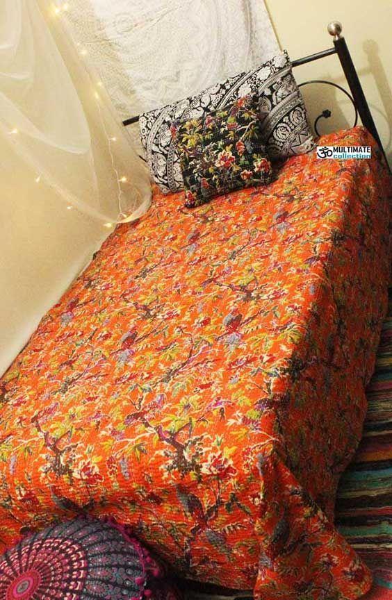 Details about  /Indian Vintage Quilt Kantha Ikat Bedspread Cotton Blanket Ralli Gudari