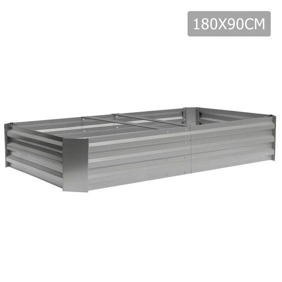 Galvanised Raised Garden Bed 180 x 90cm Aluminium White
