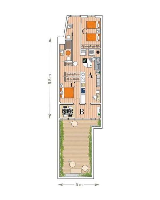 Desain Rumah Memanjang : desain, rumah, memanjang, Denah, Rumah, Memanjang, Belakang, Rumah,, Desain, Interior,
