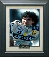 Nelson Piquet Photo Matted and Framed