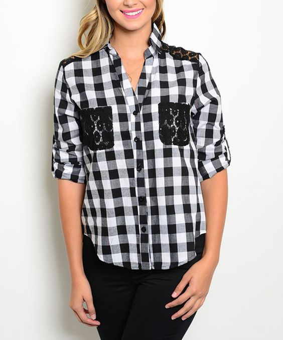 Look at this Black & White Checkered Button-Up Top on #zulily today!