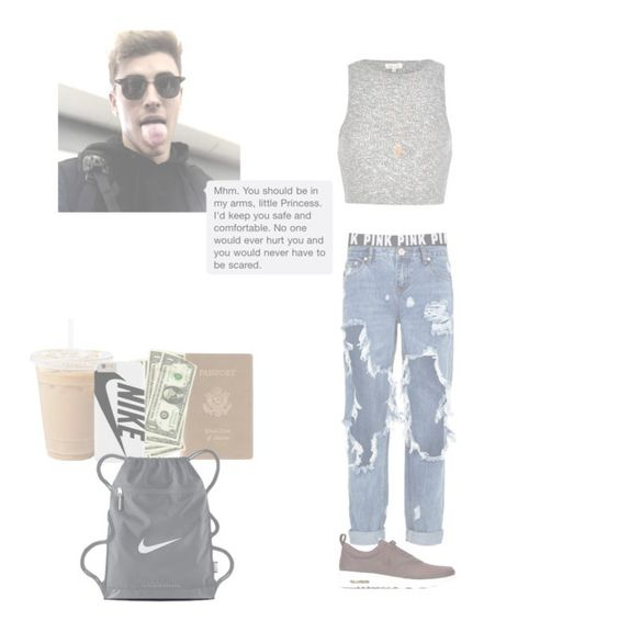 """""""Airport with G"""" by peypey2001 ❤ liked on Polyvore featuring moda, Victoria's Secret PINK, One Teaspoon, River Island, Royce Leather, Pamela Love y NIKE"""