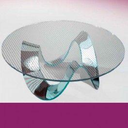 Table basse ILONA II miroir argent - verre pois argent-rouge
