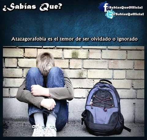 Atazagorafobia:es el temor de ser olvidado o ignorado.