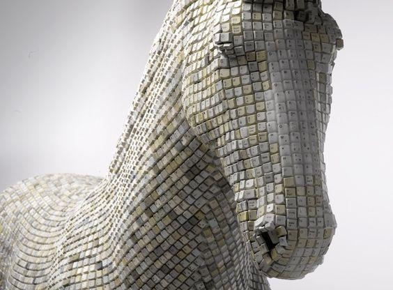 Babis Pangiotidis , German artist Artist creates horse sculpture made out of 18,000 computer keys