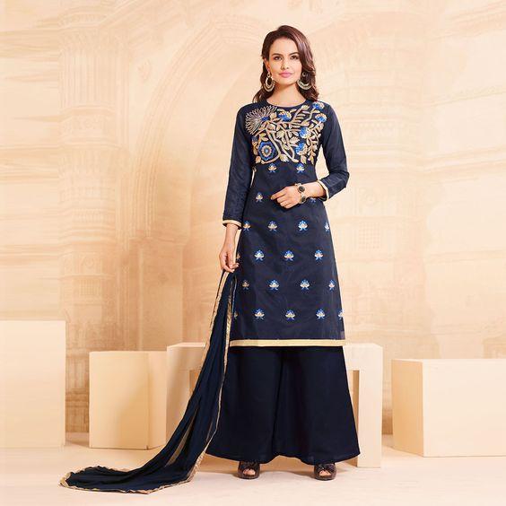 Chanderi Cotton Machine Work Blue Unstitched Pakistani Suit - S1990 at Rs 1249
