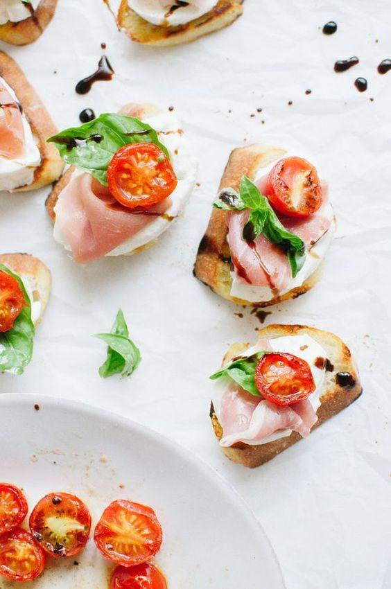 Crostini with Burrata and Prosciutto